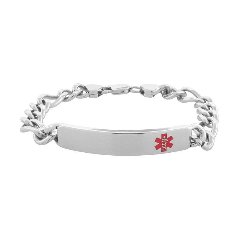 Engravable ID Bracelet with Red Caduceus Medical Alert Symbol - Bijouterie en ligne