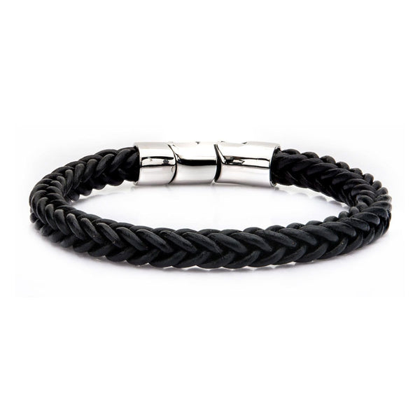 Black Leather and Stainless Steel Magnetic Clasp Bracelet