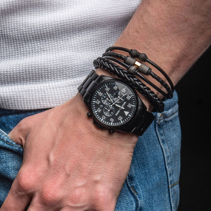 Men's Black Leather and Stainless Steel Magnetic Clasp Bracelet.