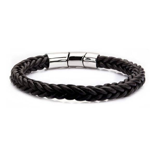 Brown Leather and Stainless Steel Magnetic Clasp Bracelet