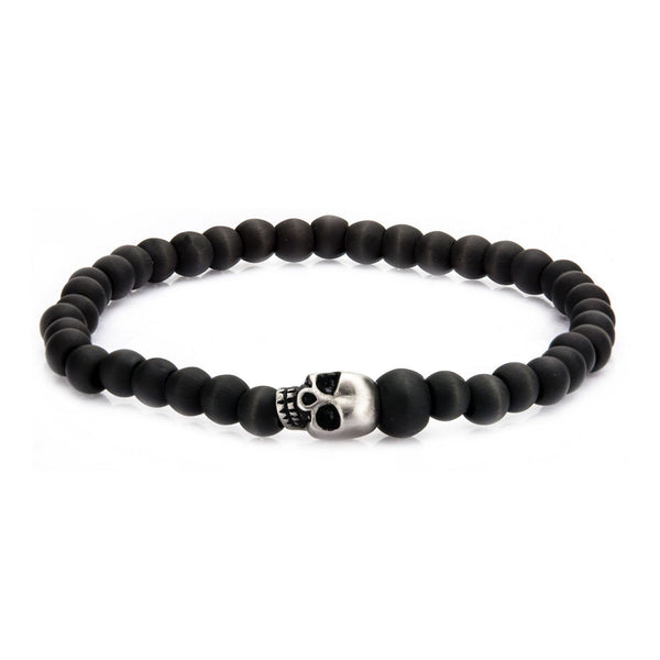 Men's Stainless Steel Skull and Solid Carbon Fiber Beads Bracelet