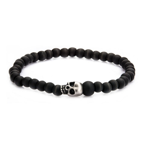 Stainless Steel Skull and Solid Carbon Fiber Beads Bracelet