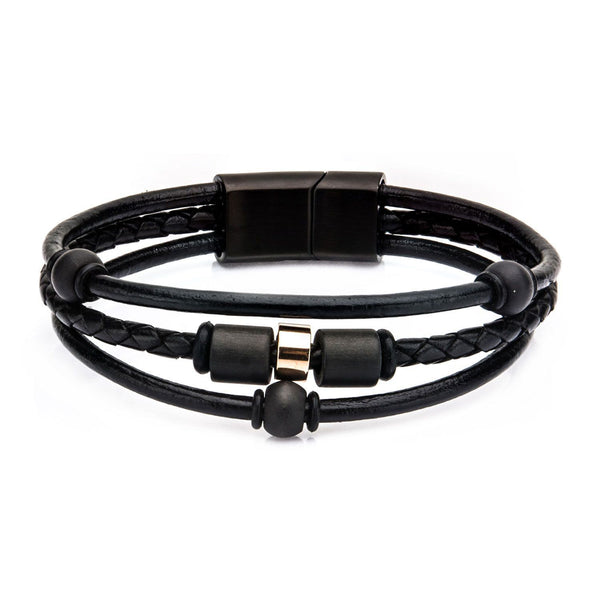 Stainless Steel Black IP Bead and Black Leather Bracelet with Magnetic Closure