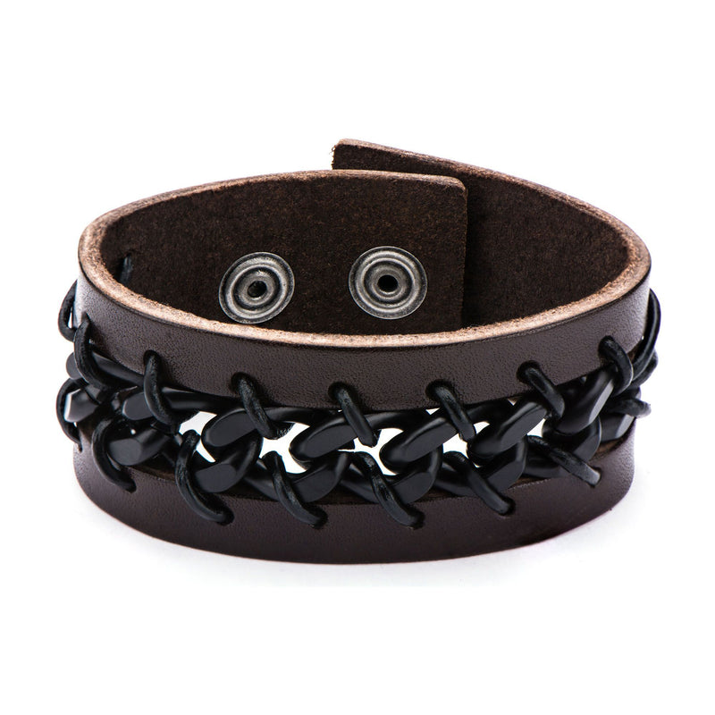 Black IP Chain in Brown Leather Bracelet