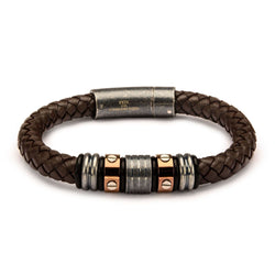 Brown Braided Leather Bracelet with Rose Gold IP and Steel Beads