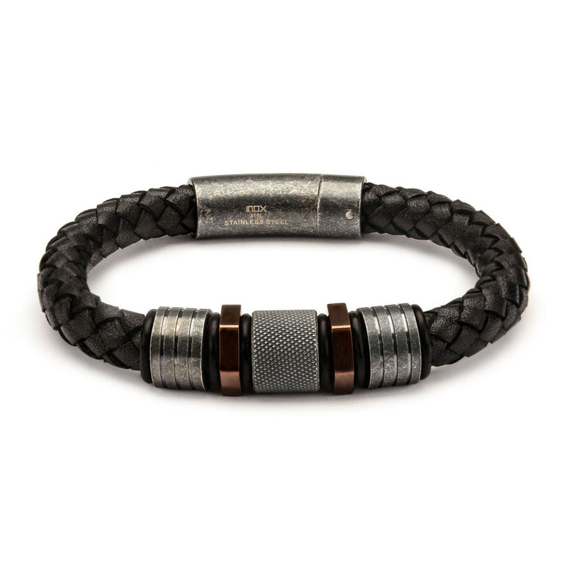 Black Braided Leather Bracelet with Rose Gold IP and Steel Beads