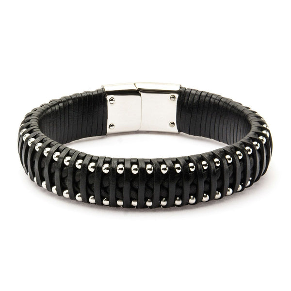 Black Leather with Steel Ball Edge Bracelet