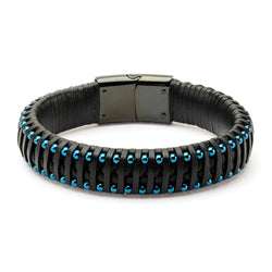 Black Leather with Blue IP Ball Edge Bracelet