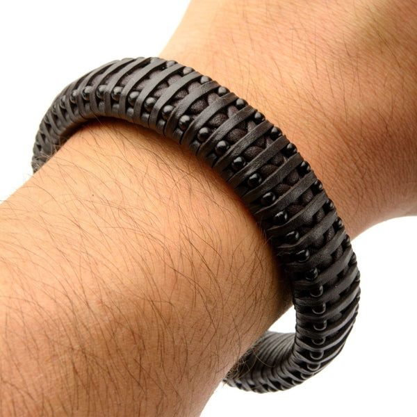 Black Leather with Black IP Ball Edge Bracelet