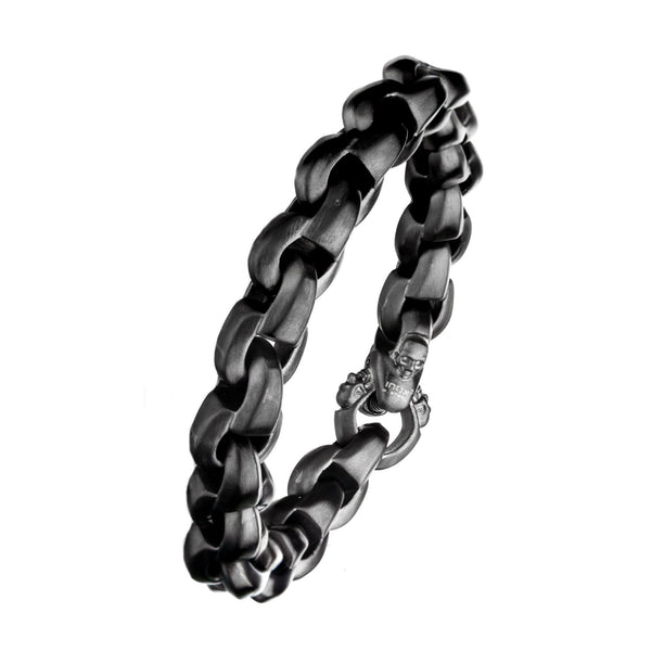 Matte Gun Metal with Skull Clasp Chain Bracelet