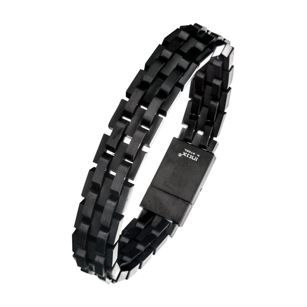 Black IP and Steel Link Bracelet