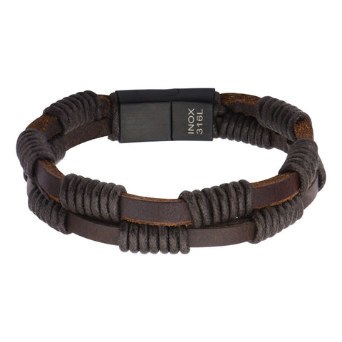 Double Brown Leather Bracelet with Rope - Bijouterie en ligne - 1