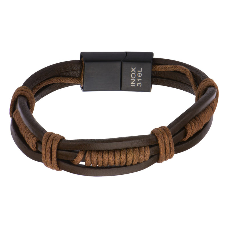 Brown Rope in Brown Leather Bracelet - Bijouterie en ligne - 1