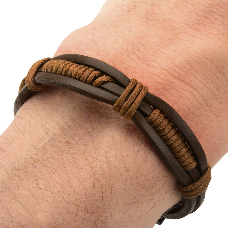 Brown Rope in Brown Leather Bracelet - Bijouterie en ligne - 4
