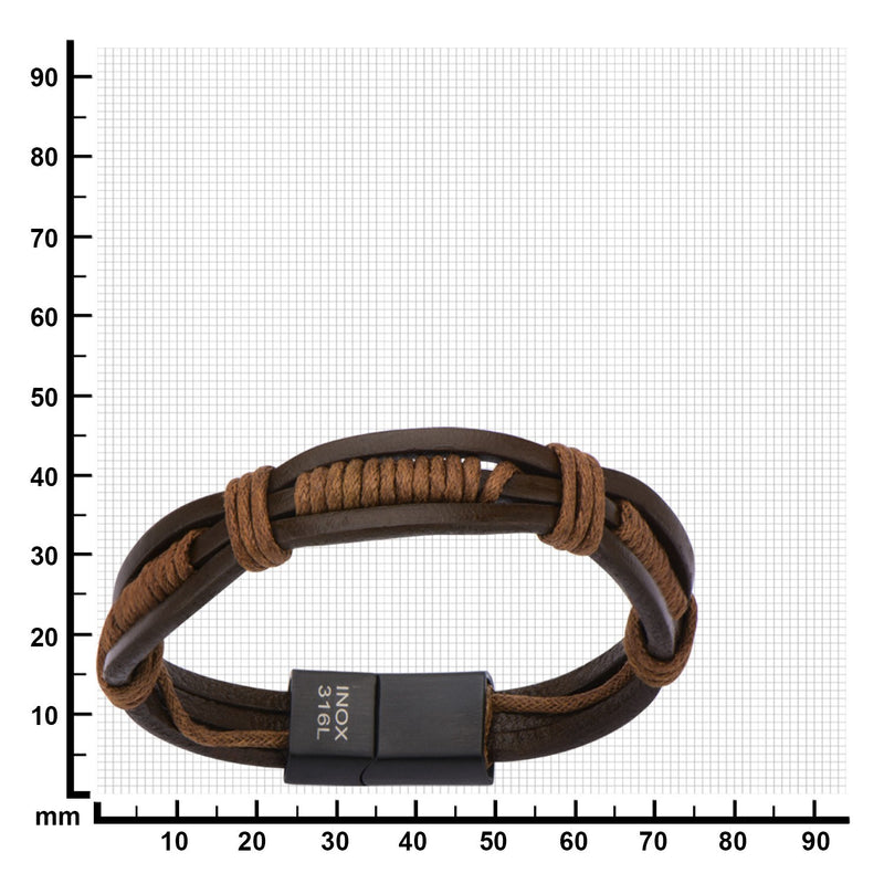 Brown Rope in Brown Leather Bracelet - Bijouterie en ligne - 3