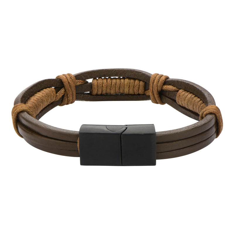 Brown Rope in Brown Leather Bracelet - Bijouterie en ligne - 2