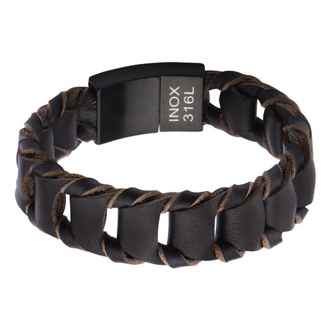 Big Fold Braided Brown Leather Bracelet - Bijouterie en ligne - 1