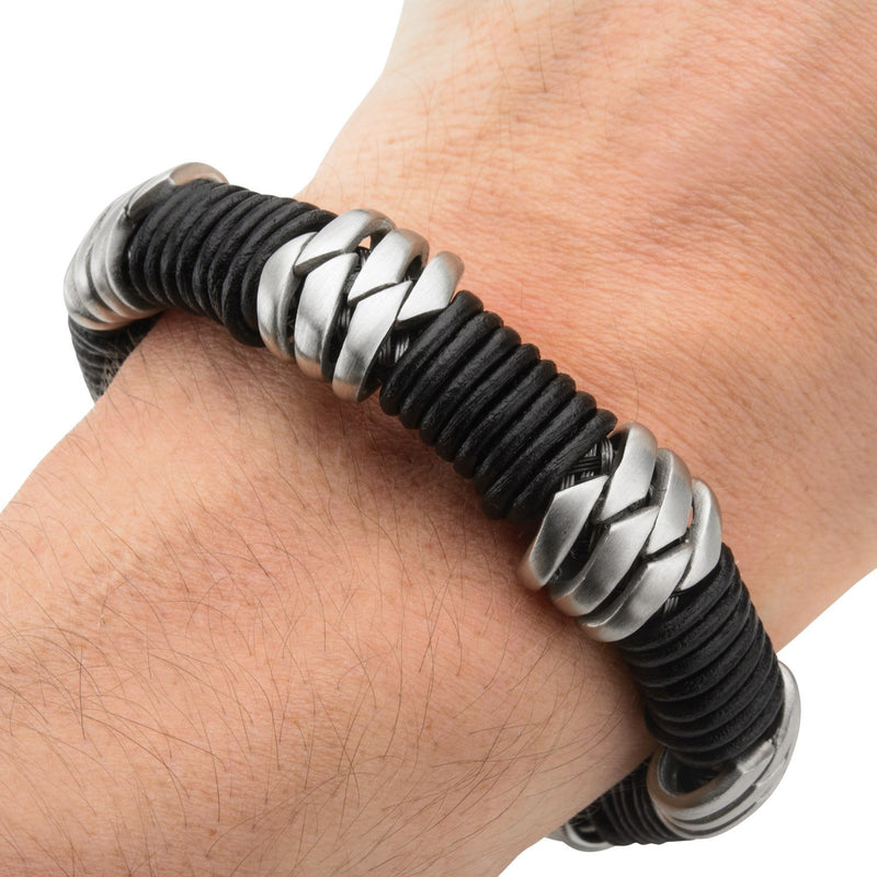 Steel & Black Leather Bracelet - Bijouterie en ligne - 4