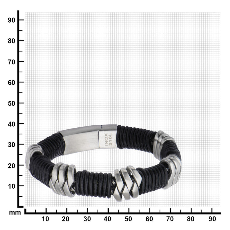 Steel & Black Leather Bracelet - Bijouterie en ligne - 3