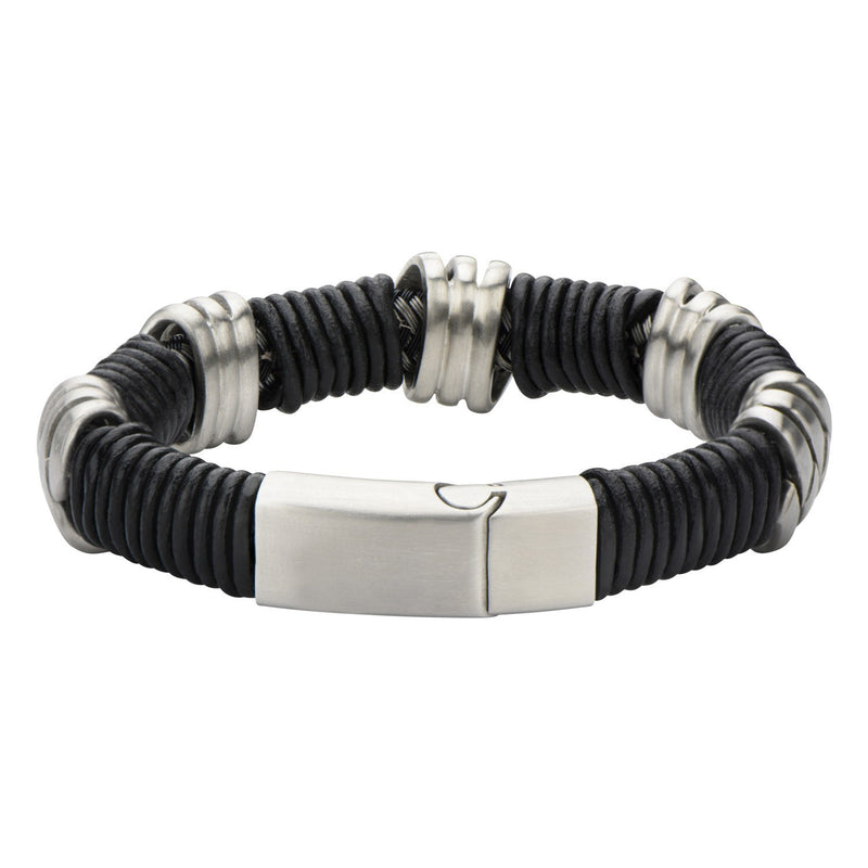 Steel & Black Leather Bracelet - Bijouterie en ligne - 2