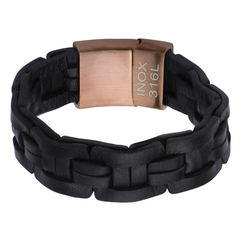 Black Leather Bracelet - Bijouterie en ligne - 1