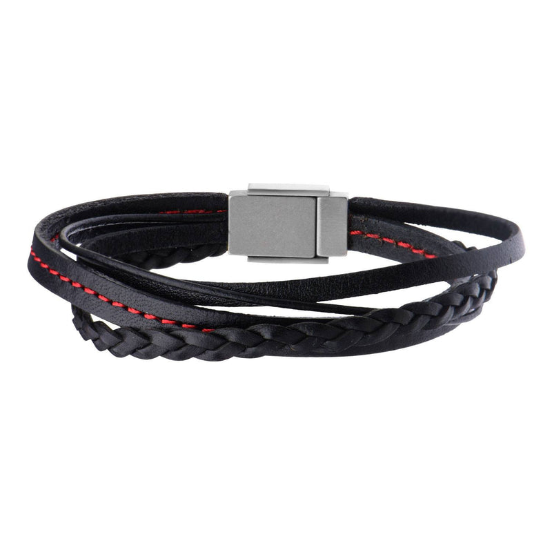 Black Leather in Red Tread and Braided Layered Bracelet - Bijouterie en ligne - 1