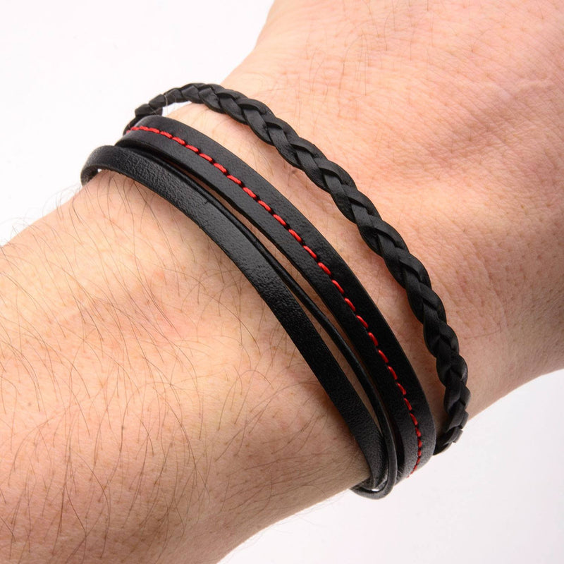Black Leather in Red Tread and Braided Layered Bracelet - Bijouterie en ligne - 4