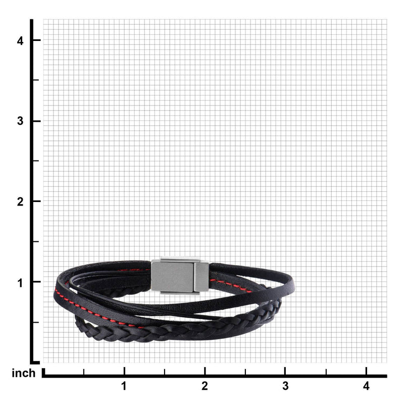 Black Leather in Red Tread and Braided Layered Bracelet - Bijouterie en ligne - 3