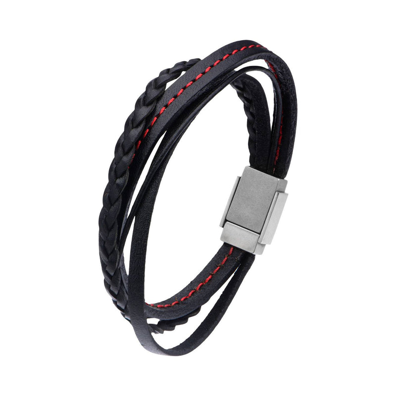 Black Leather in Red Tread and Braided Layered Bracelet - Bijouterie en ligne - 2
