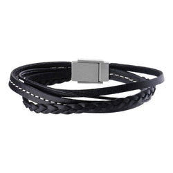 Black Leather in White Tread and Braided Layered Bracelet - Bijouterie en ligne - 1