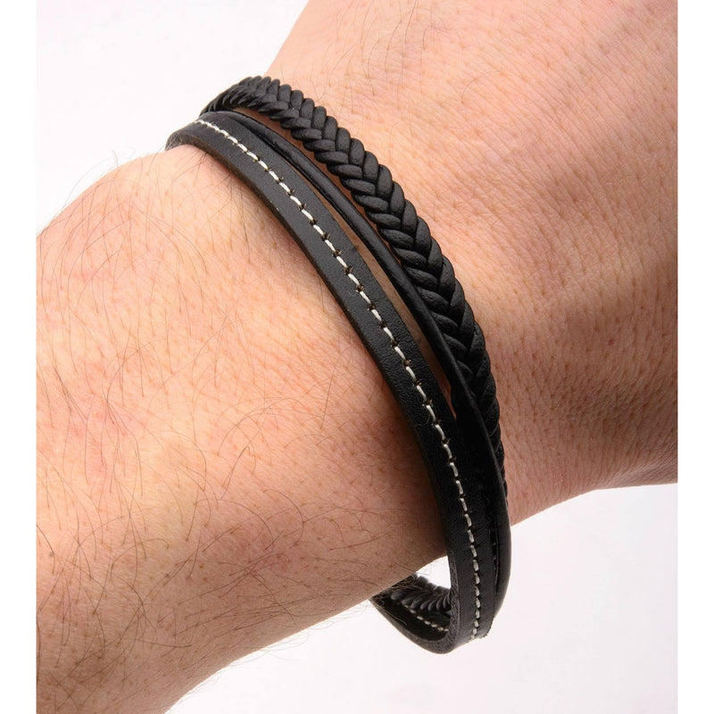 Black Leather in White Tread and Braided Layered Bracelet - Bijouterie en ligne - 4