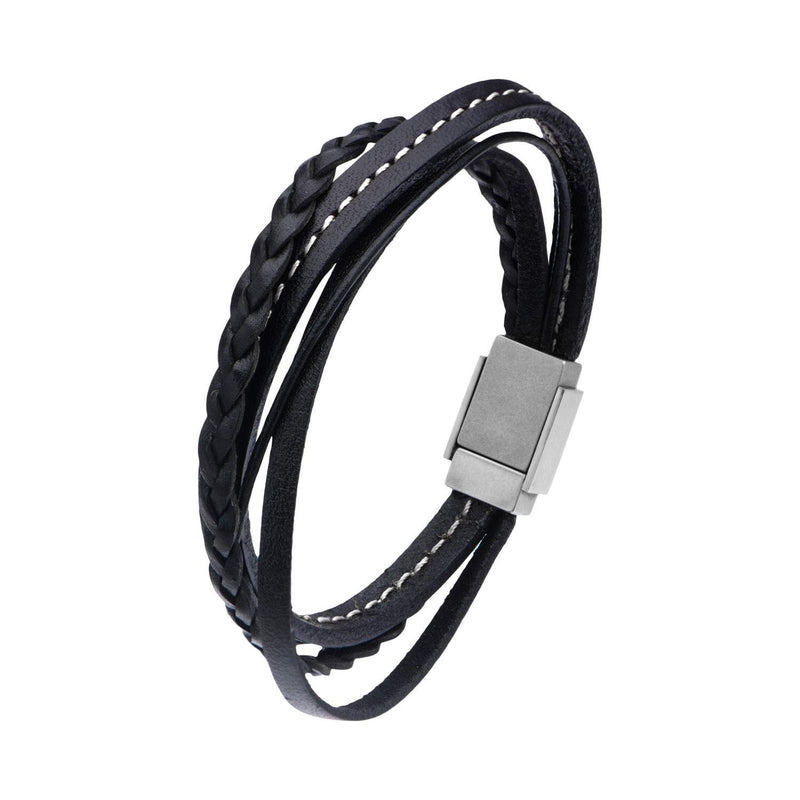 Black Leather in White Tread and Braided Layered Bracelet - Bijouterie en ligne - 2