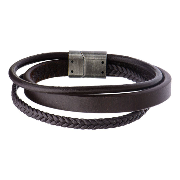 Brown Leather with Braided Layered Bracelet - Bijouterie en ligne - 1
