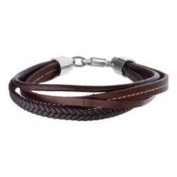 Brown Leather and Braided Layered Bracelet - Bijouterie en ligne - 1