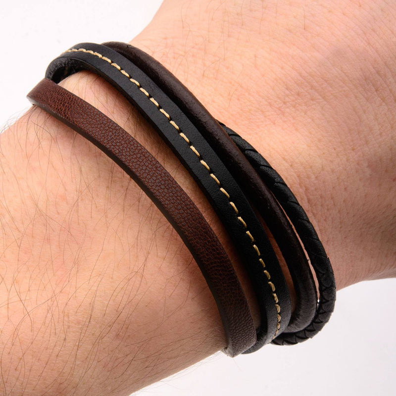 Brown Leather and Braided Layered Bracelet - Bijouterie en ligne - 4