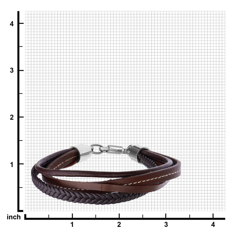 Brown Leather and Braided Layered Bracelet - Bijouterie en ligne - 3