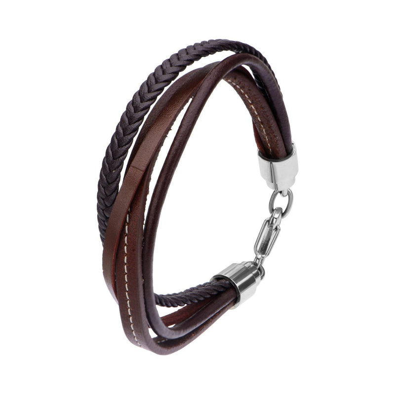 Brown Leather and Braided Layered Bracelet - Bijouterie en ligne - 2