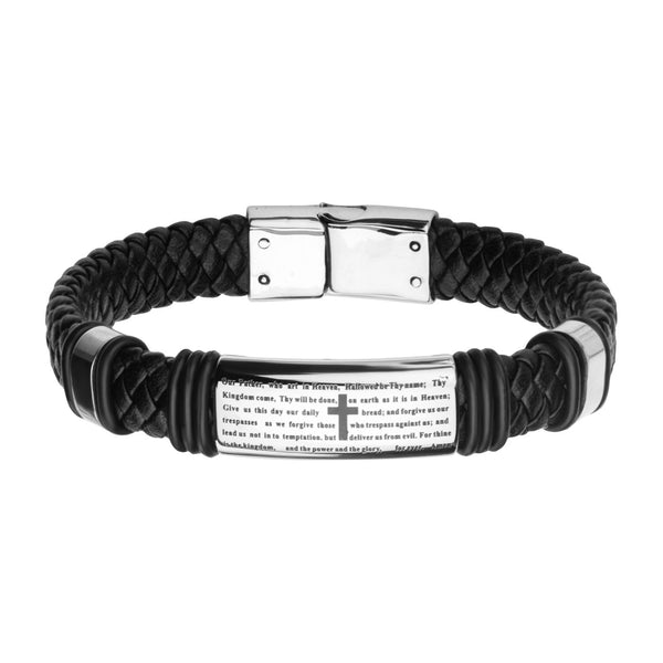 Black Braided Leather with Lord's Prayer ID Steel Bracelet - Bijouterie en ligne - 1