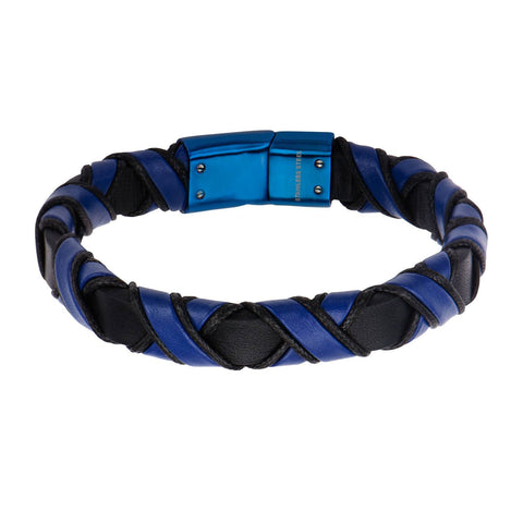 Blue IP Clasp with Woven Black and Blue Leather Bracelet - Bijouterie en ligne - 1