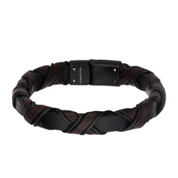 Black IP Clasp with Woven Black and Dark Brown Leather Bracelet - Bijouterie en ligne - 1