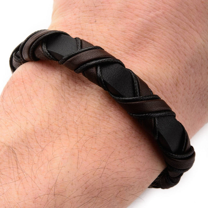 Black IP Clasp with Woven Black and Dark Brown Leather Bracelet - Bijouterie en ligne - 4