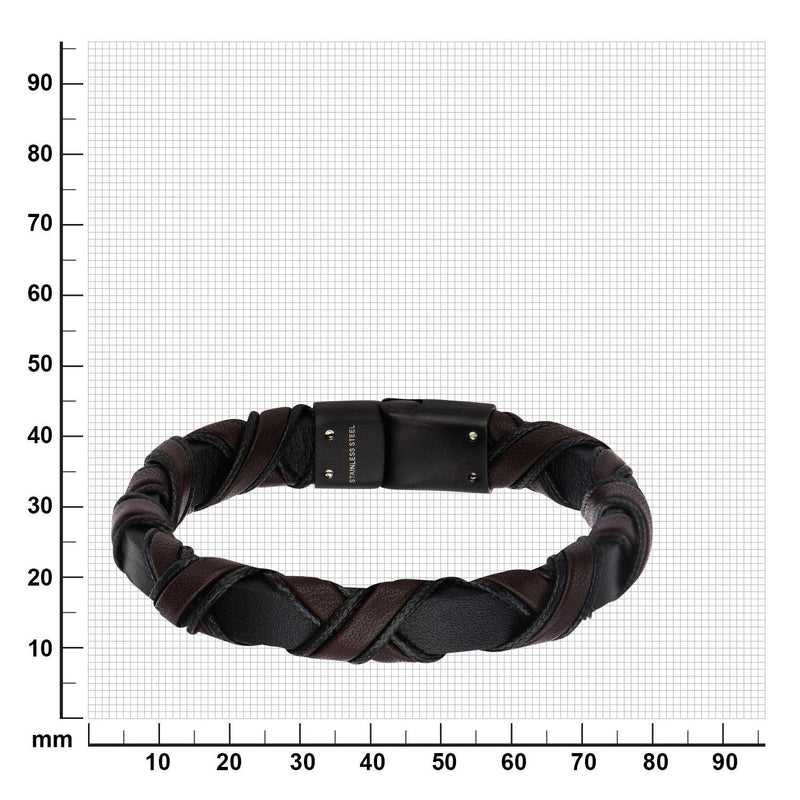 Black IP Clasp with Woven Black and Dark Brown Leather Bracelet - Bijouterie en ligne - 3