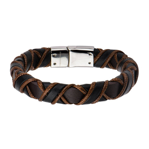 Clasp with Woven Black and Light Brown Leather Bracelet - Bijouterie en ligne - 1