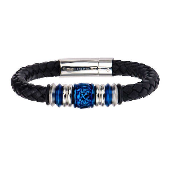 Steel and Blue IP Bead in Black Braided Leather Bracelet - Bijouterie en ligne - 1