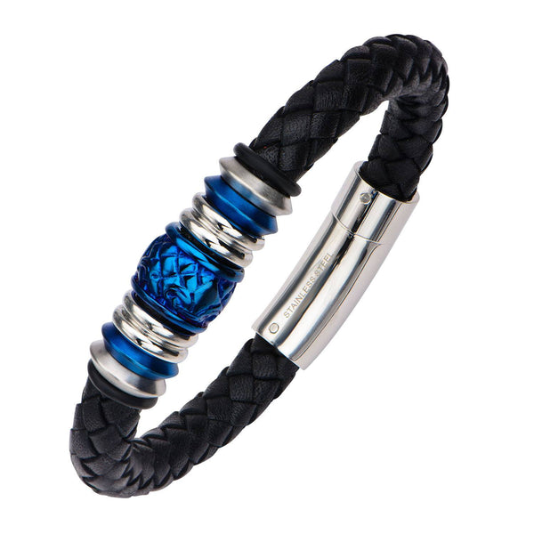 Steel and Blue IP Bead in Black Braided Leather Bracelet - Bijouterie en ligne - 2