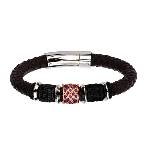 Black IP, Brown and Steel Bead in Brown Braided Leather Bracelet - Bijouterie en ligne - 1