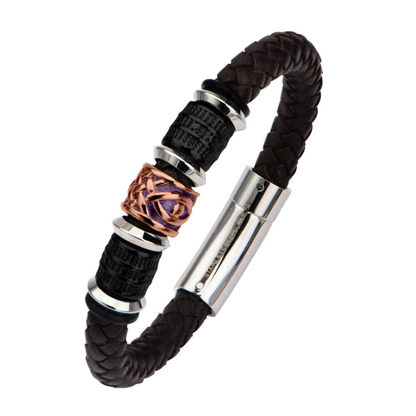 Black IP, Brown and Steel Bead in Brown Braided Leather Bracelet - Bijouterie en ligne - 2