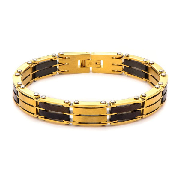 Gold IP and Black IP H Link Bracelet