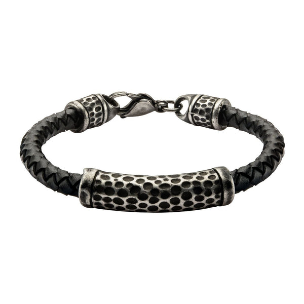 Black Leather with Antique Steel Hammered Beads Bracelet