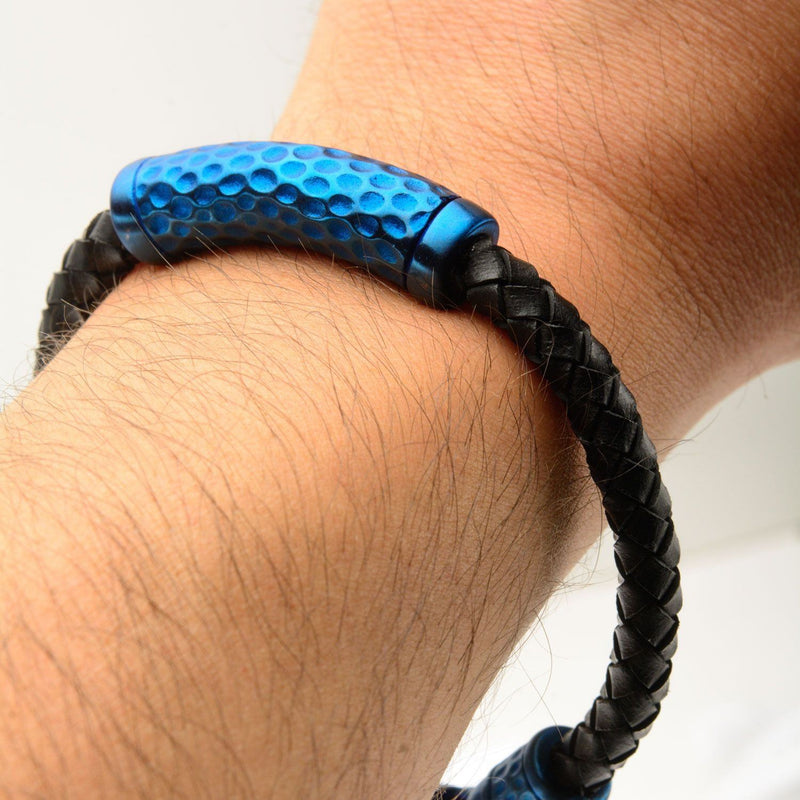 Black Leather with Blue IP Hammered Beads Bracelet